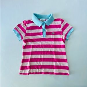 Lacoste Kids Polo 👕 size 14 stripes with buttons